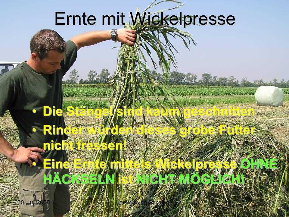 30. Juli 2005erstellt von Grimling6 Ernte mit Wickelpresse Die Stängel sind kaum geschnitten Rinder würden dieses grobe Futter nicht fressen! Eine Ern