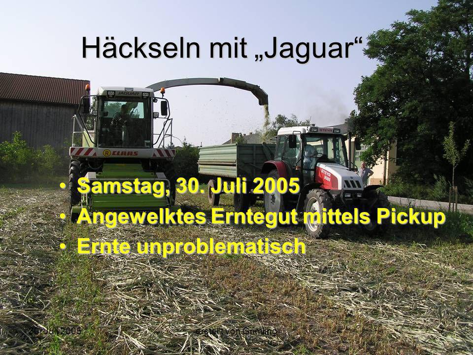 30. Juli 2005erstellt von Grimling7 Häckseln mit Jaguar Samstag, 30. Juli 2005 Angewelktes Erntegut mittels Pickup Ernte unproblematisch