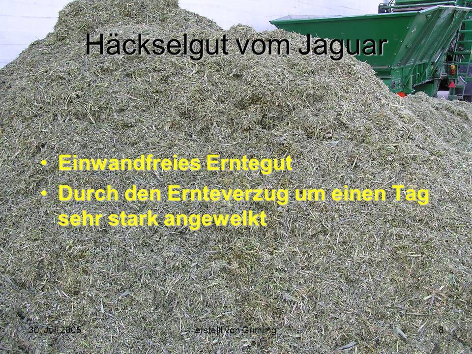 30. Juli 2005erstellt von Grimling8 Häckselgut vom Jaguar Einwandfreies Erntegut Durch den Ernteverzug um einen Tag sehr stark angewelkt