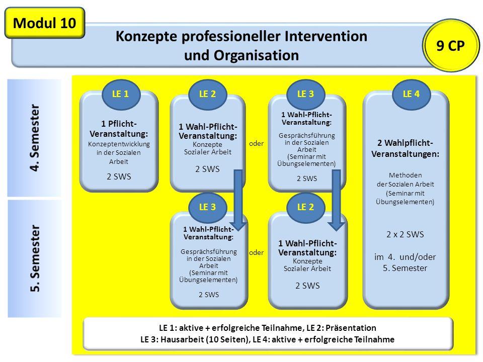 Konzepte professioneller Intervention und Organisation Modul 10 1 Pflicht- Veranstaltung: Konzeptentwicklung in der Sozialen Arbeit 2 SWS LE 1: aktive