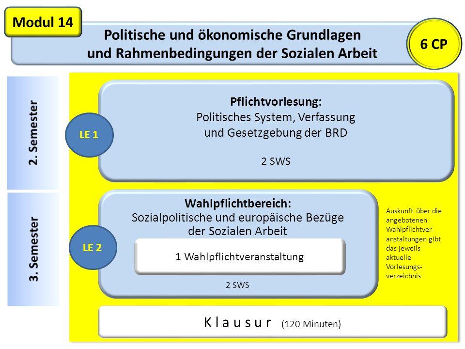 Politische und ökonomische Grundlagen und Rahmenbedingungen der Sozialen Arbeit Modul 14 Pflichtvorlesung: Politisches System, Verfassung und Gesetzge