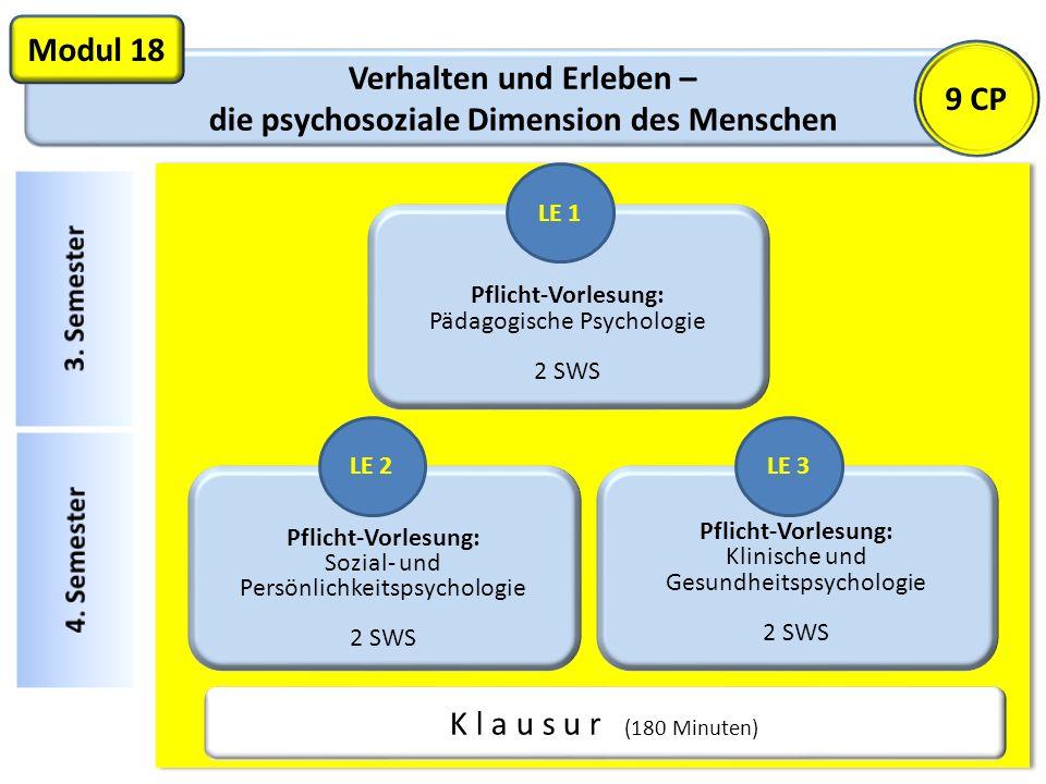 Verhalten und Erleben – die psychosoziale Dimension des Menschen Modul 18 Pflicht-Vorlesung: Pädagogische Psychologie 2 SWS K l a u s u r (180 Minuten