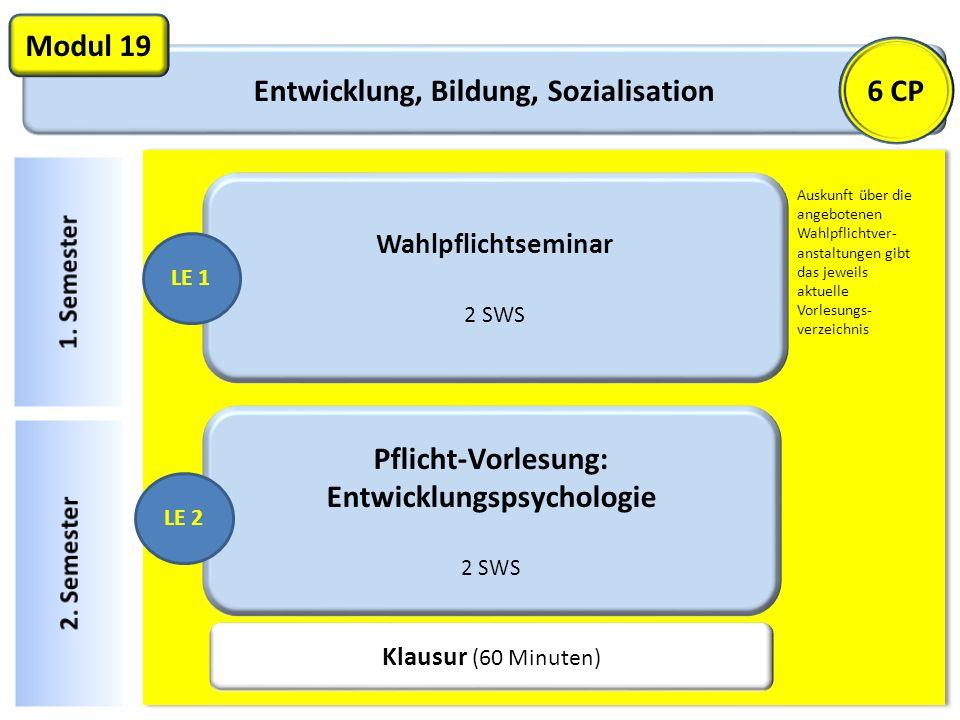 Entwicklung, Bildung, Sozialisation Modul 19 Wahlpflichtseminar 2 SWS LE 1 Pflicht-Vorlesung: Entwicklungspsychologie 2 SWS LE 2 Klausur (60 Minuten)