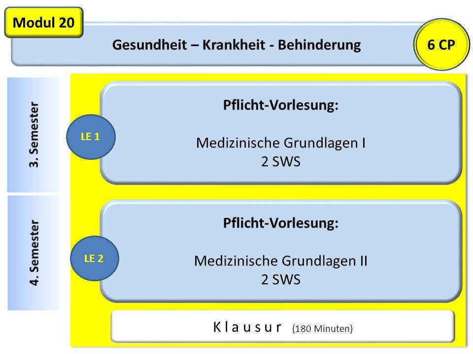 Gesundheit – Krankheit - Behinderung Modul 20 Pflicht-Vorlesung: Medizinische Grundlagen I 2 SWS K l a u s u r (180 Minuten) LE 1 Pflicht-Vorlesung: M