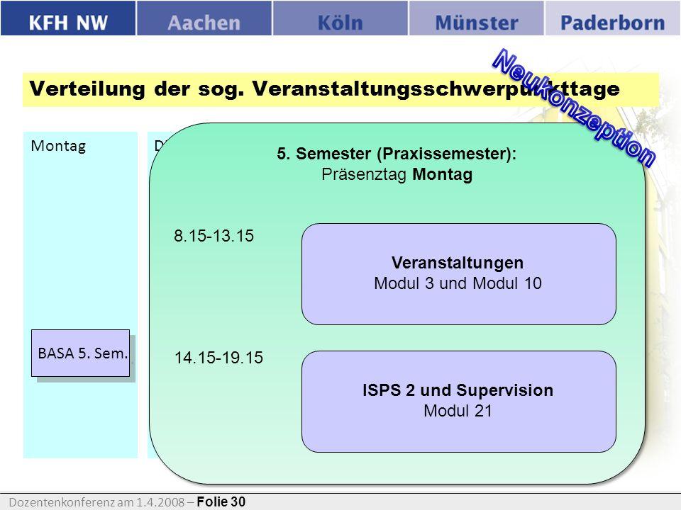 Dozentenkonferenz am 1.4.2008 – Folie 30 Folie Verteilung der sog. Veranstaltungsschwerpunkttage MontagDienstagMittwochDonnerstagFreitag BASA 1. + 2.