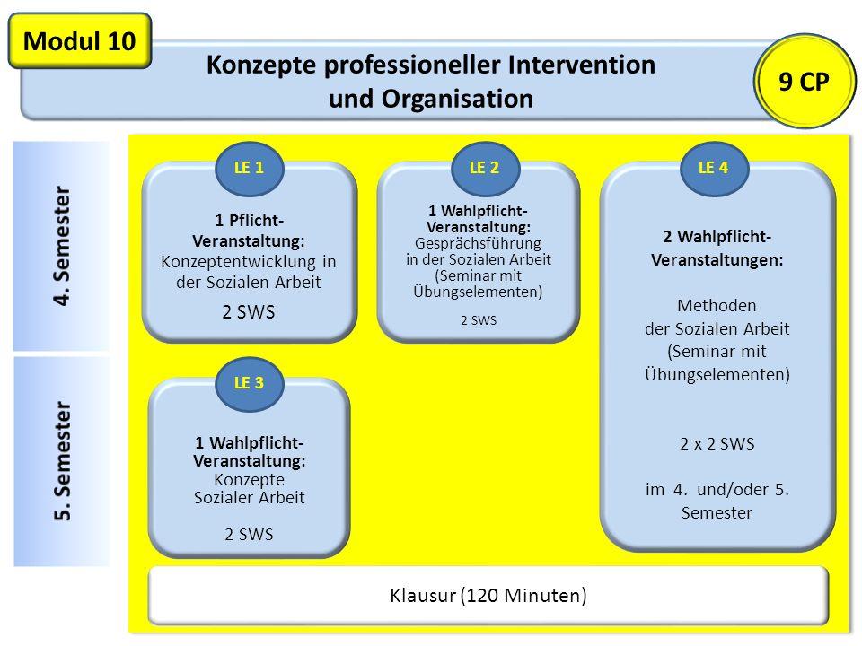 Konzepte professioneller Intervention und Organisation Modul 10 1 Pflicht- Veranstaltung: Konzeptentwicklung in der Sozialen Arbeit 2 SWS Klausur (120