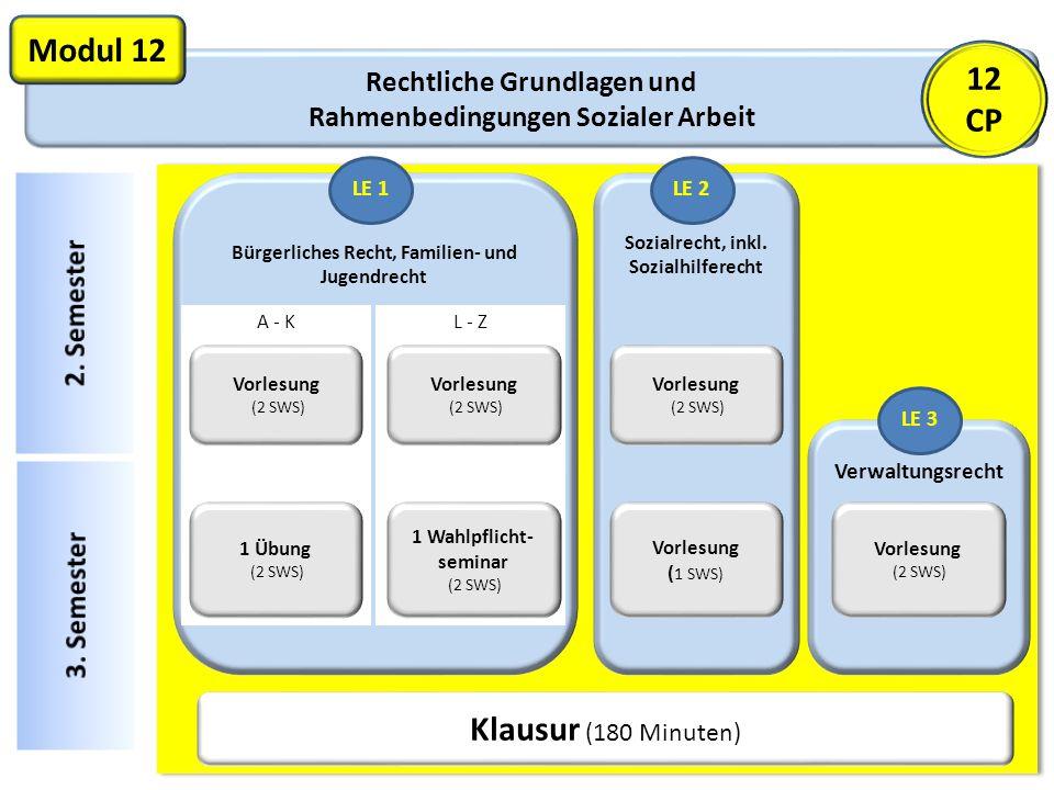 Sozialrecht, inkl. Sozialhilferecht Rechtliche Grundlagen und Rahmenbedingungen Sozialer Arbeit Modul 12 Bürgerliches Recht, Familien- und Jugendrecht