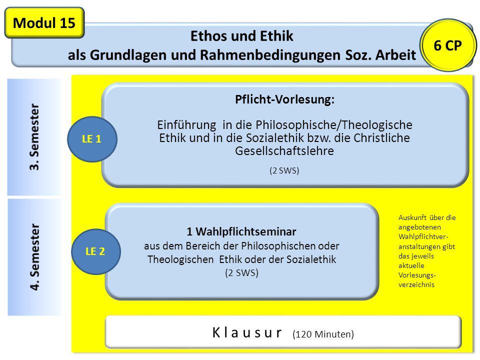 Ethos und Ethik als Grundlagen und Rahmenbedingungen Soz. Arbeit Modul 15 Pflicht-Vorlesung: Einführung in die Philosophische/Theologische Ethik und i