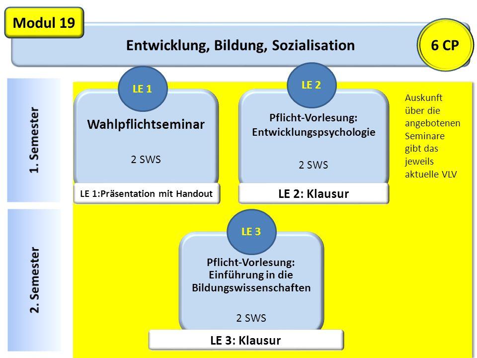Entwicklung, Bildung, Sozialisation Modul 19 Wahlpflichtseminar 2 SWS LE 1 Pflicht-Vorlesung: Entwicklungspsychologie 2 SWS LE 2 6 CP Auskunft über di