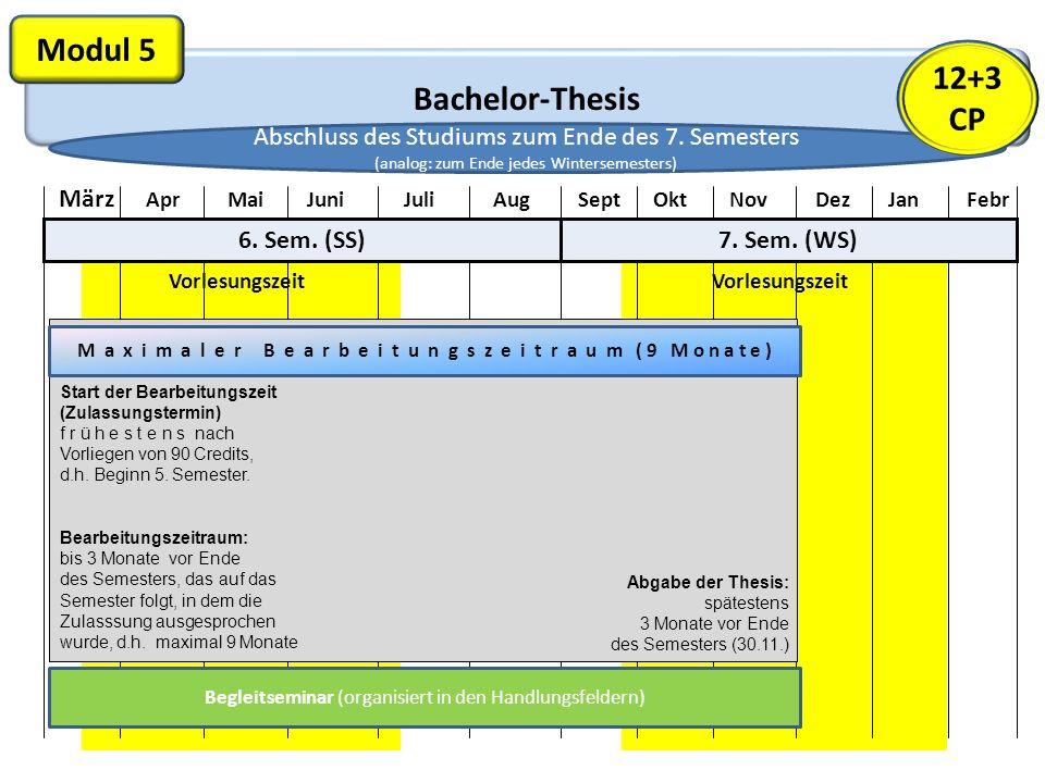 Bachelor-Thesis Modul 5 Vorlesungszeit März Apr Mai Juni Juli Aug Sept Okt Nov Dez Jan Febr 6. Sem. (SS)7. Sem. (WS) M a x i m a l e r B e a r b e i t