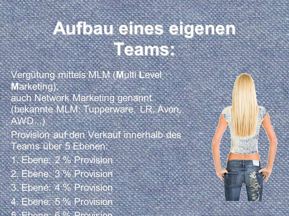 Aufbau eines eigenen Teams: Vergütung mittels MLM (Multi Level Marketing), auch Network Marketing genannt. (bekannte MLM: Tupperware, LR, Avon, AWD...