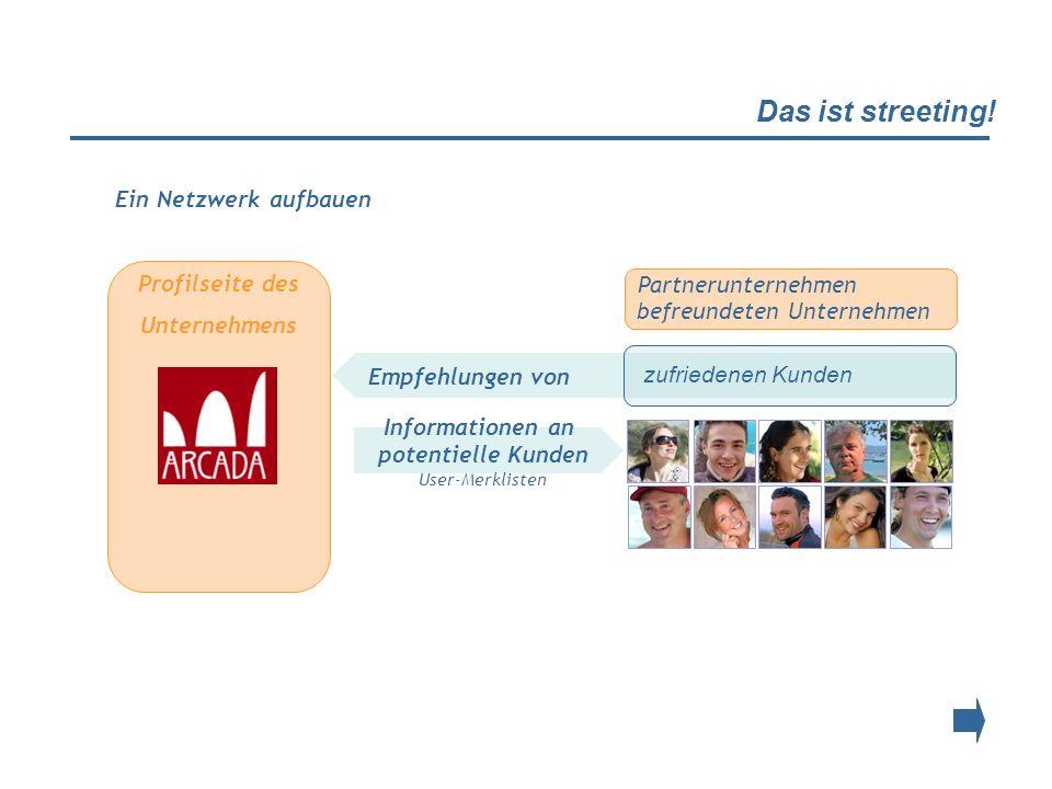 Das ist streeting! Profilseite des Unternehmens Empfehlungen von Partnerunternehmen befreundeten Unternehmen zufriedenen Kunden Informationen an poten