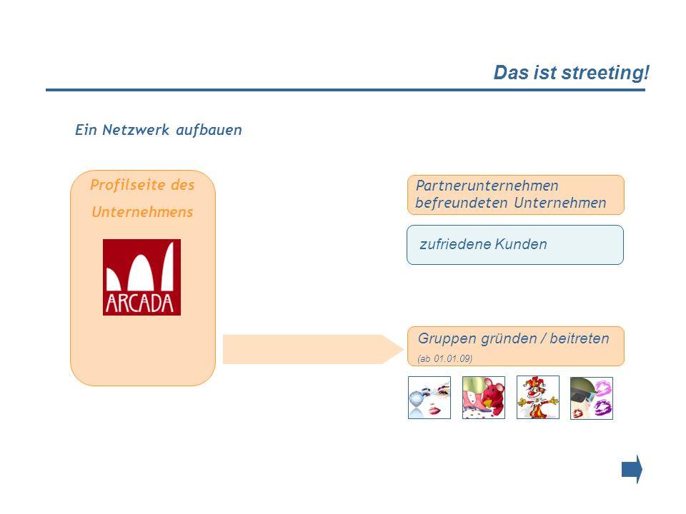 Das ist streeting! Profilseite des Unternehmens Partnerunternehmen befreundeten Unternehmen zufriedene Kunden Gruppen gründen / beitreten (ab 01.01.09