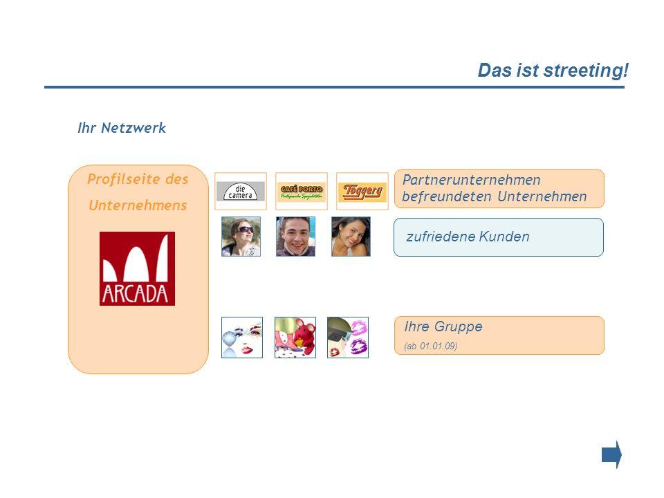 Das ist streeting! Profilseite des Unternehmens zufriedene Kunden Ihre Gruppe (ab 01.01.09) Ihr Netzwerk Partnerunternehmen befreundeten Unternehmen