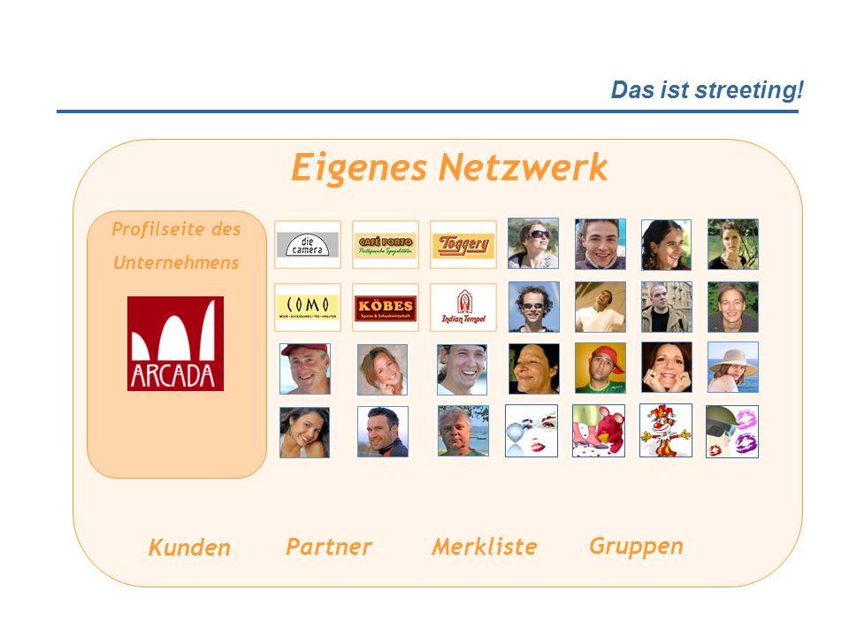 Das ist streeting! Profilseite des Unternehmens Eigenes Netzwerk Partner Kunden Merkliste Gruppen