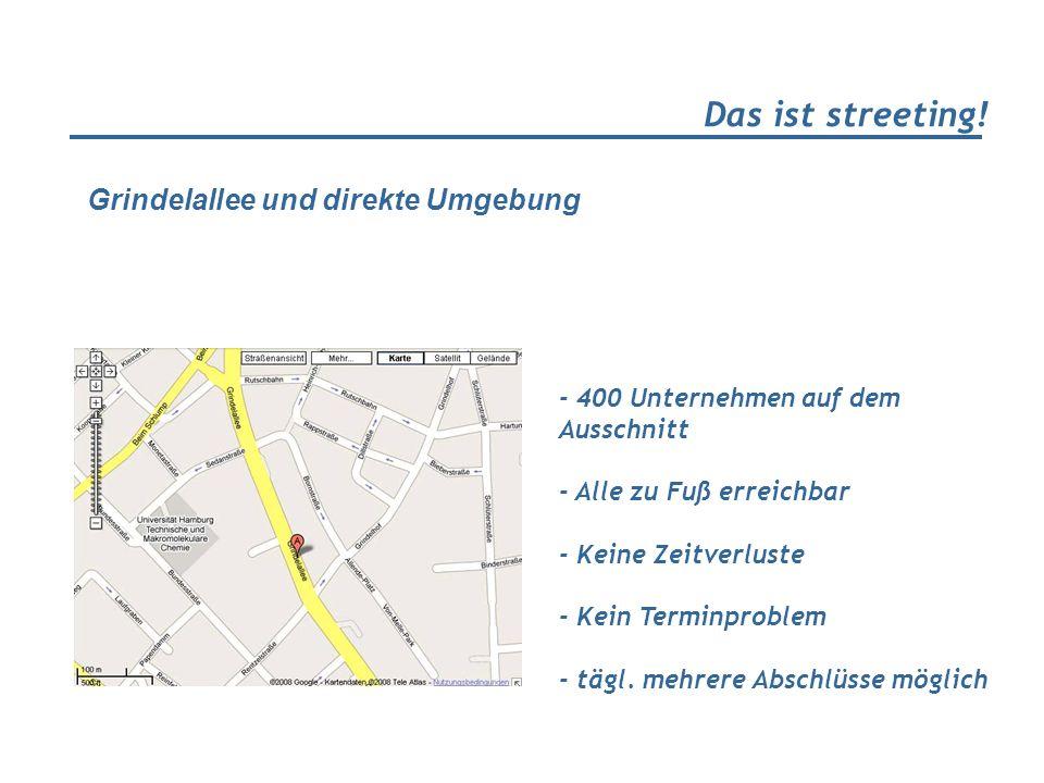 Das ist streeting! - 400 Unternehmen auf dem Ausschnitt - Alle zu Fuß erreichbar - Keine Zeitverluste - Kein Terminproblem - tägl. mehrere Abschlüsse