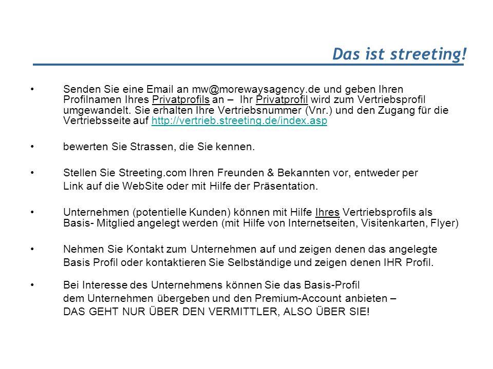 Das ist streeting! Senden Sie eine Email an mw@morewaysagency.de und geben Ihren Profilnamen Ihres Privatprofils an – Ihr Privatprofil wird zum Vertri