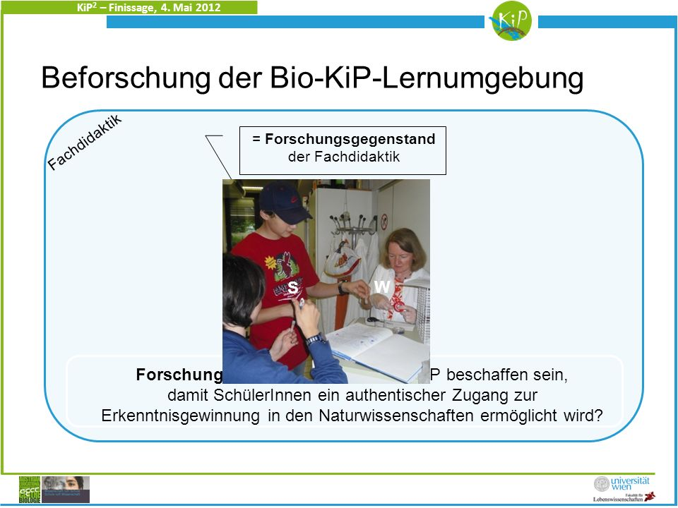 KiP 2 – Finissage, 4. Mai 2012 Christine Heidinger PALY-KiP 1. Zugang: Einblick in echte Forschung