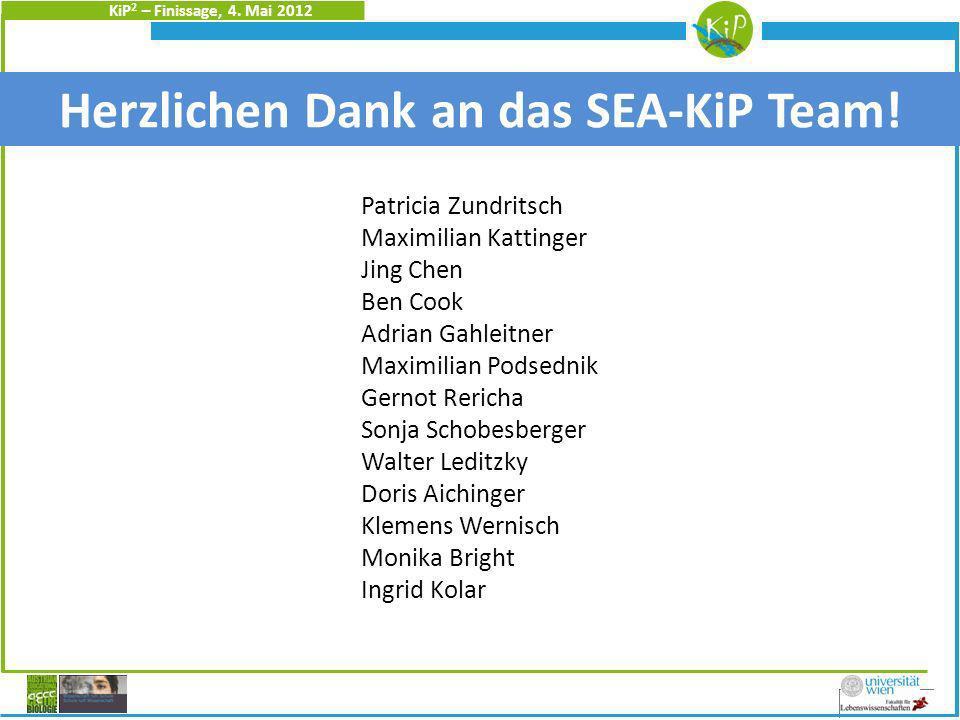 KiP 2 – Finissage, 4. Mai 2012 Christine Heidinger Herzlichen Dank an das SEA-KiP Team.