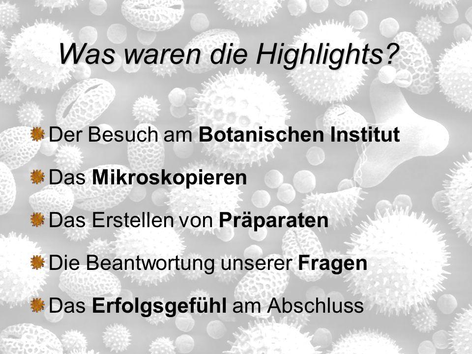 Was waren die Highlights? Der Besuch am Botanischen Institut Das Mikroskopieren Das Erstellen von Präparaten Die Beantwortung unserer Fragen Das Erfol