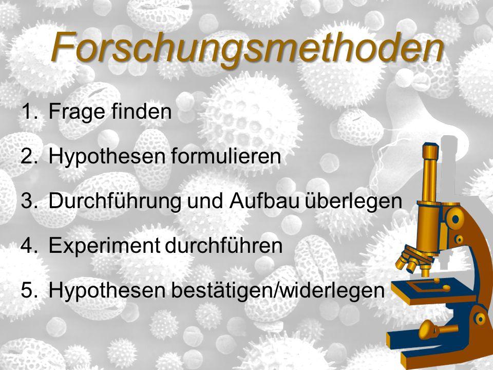 Forschungsmethoden 1.Frage finden 2.Hypothesen formulieren 3.Durchführung und Aufbau überlegen 4.Experiment durchführen 5.Hypothesen bestätigen/widerl
