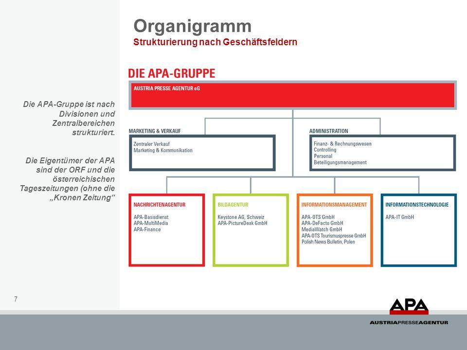 7 Organigramm Strukturierung nach Geschäftsfeldern Die APA-Gruppe ist nach Divisionen und Zentralbereichen strukturiert. Die Eigentümer der APA sind d
