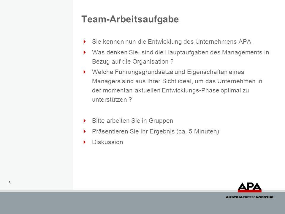 Team-Arbeitsaufgabe Sie kennen nun die Entwicklung des Unternehmens APA. Was denken Sie, sind die Hauptaufgaben des Managements in Bezug auf die Organ