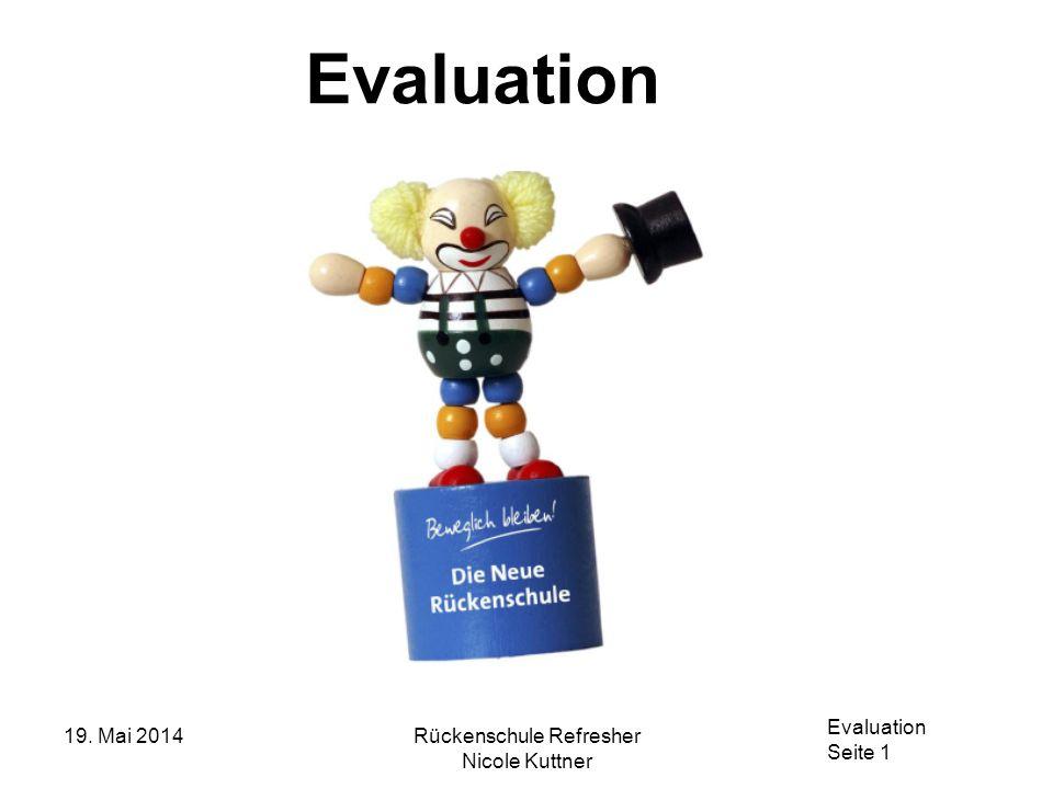 Evaluation Seite 1 19. Mai 2014Rückenschule Refresher Nicole Kuttner Evaluation