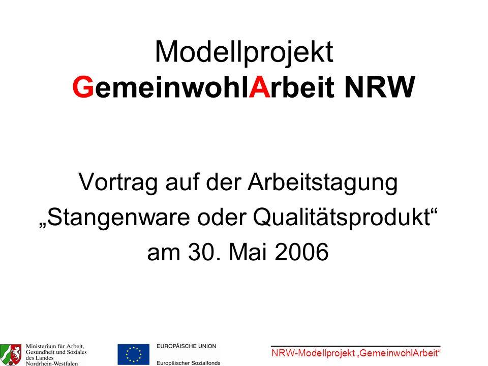 ________________________________ NRW-Modellprojekt GemeinwohlArbeit Stand der Dinge bis heute: Konsens mit LAG FW NRW und Beteiligung der Verbandsgruppen ist gesichert.