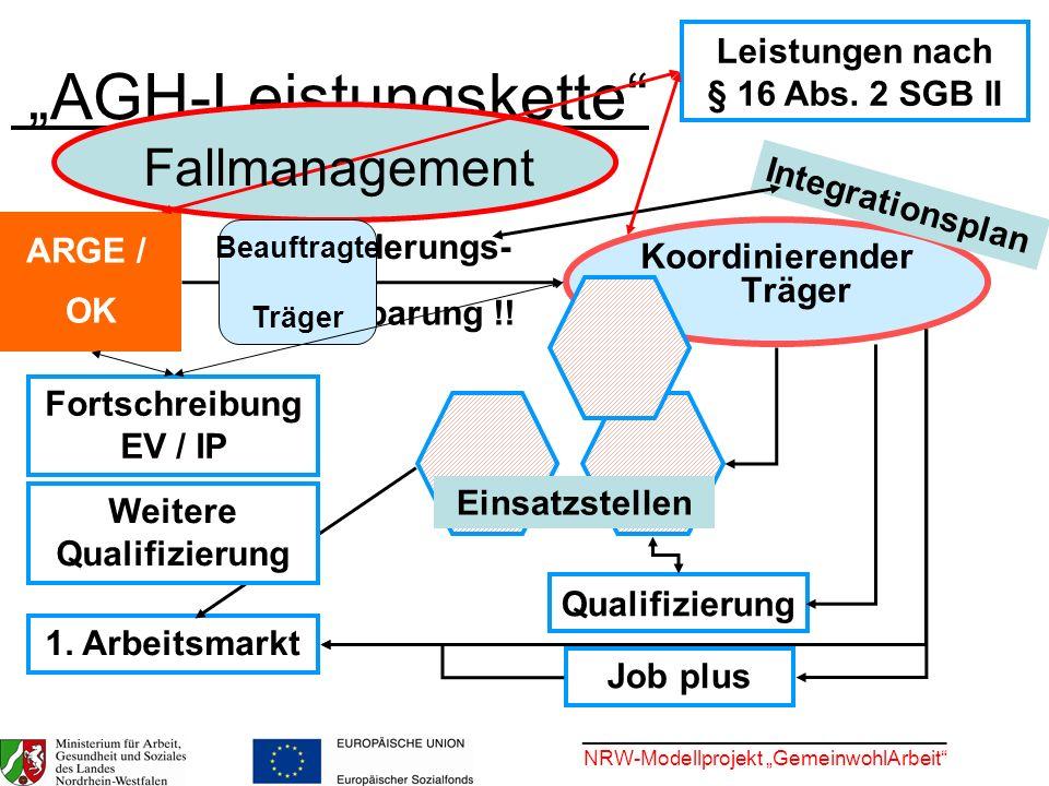 ________________________________ NRW-Modellprojekt GemeinwohlArbeit AGH-Leistungskette ARGE / OK Koordinierender Träger Eingliederungs- vereinbarung !