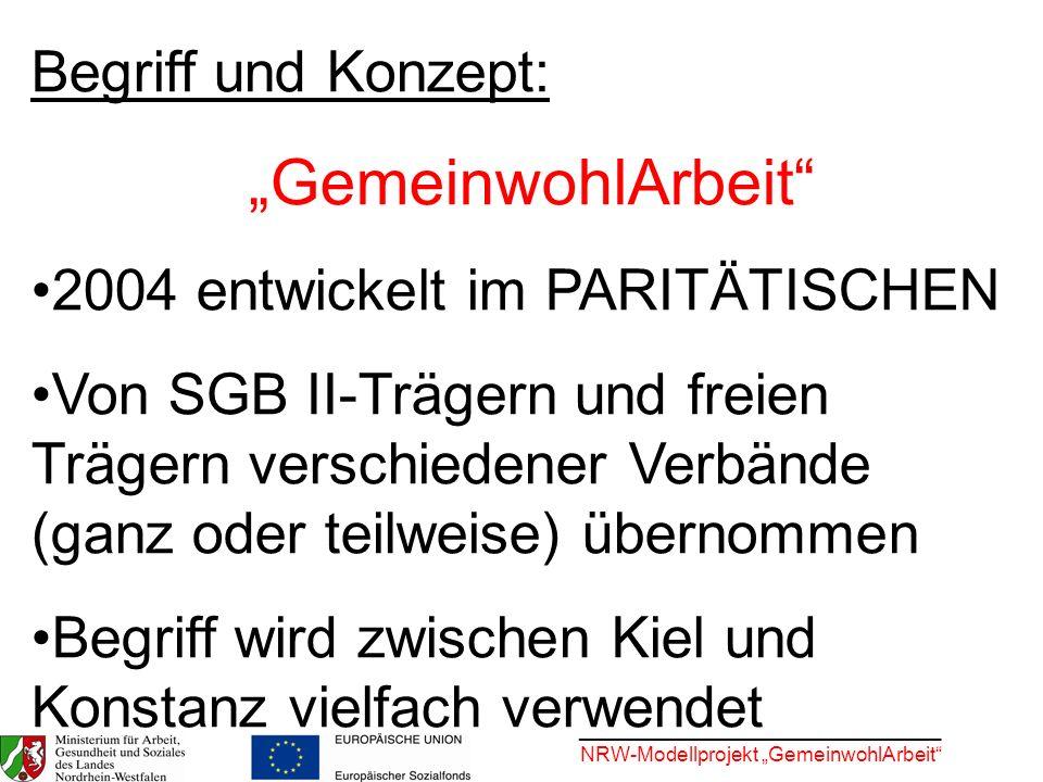 ________________________________ NRW-Modellprojekt GemeinwohlArbeit Begriff und Konzept: GemeinwohlArbeit 2004 entwickelt im PARITÄTISCHEN Von SGB II-