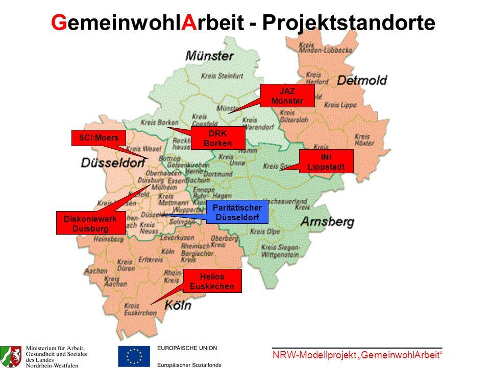 ________________________________ NRW-Modellprojekt GemeinwohlArbeit SCI:Moers Diakoniewerk Duisburg DRK Borken JAZ Münster INI Lippstadt Helios Euskir