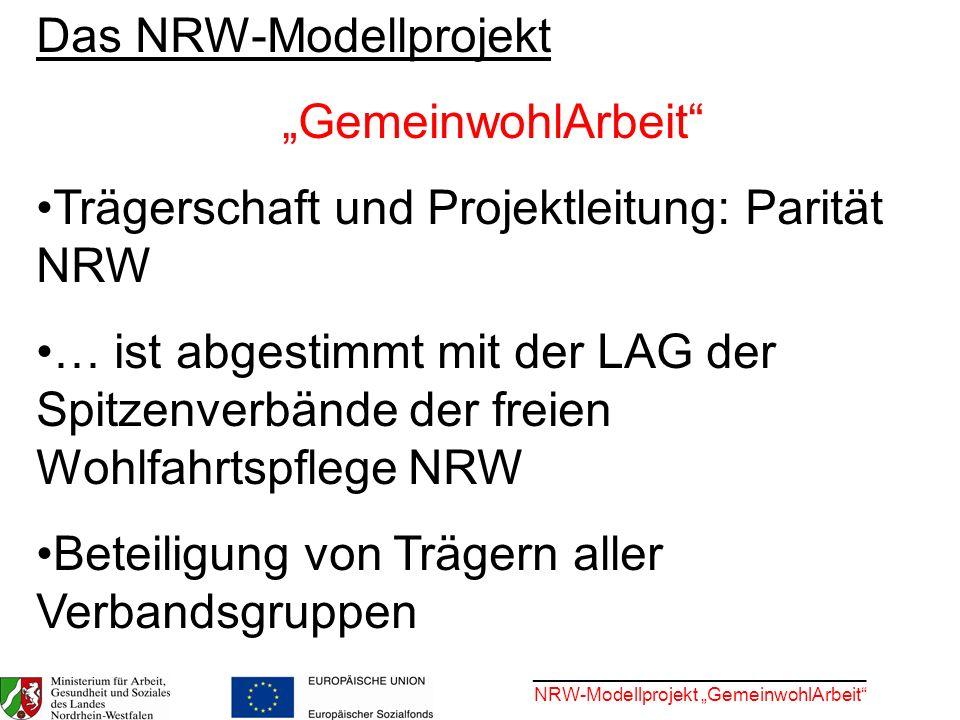 ________________________________ NRW-Modellprojekt GemeinwohlArbeit Das NRW-Modellprojekt GemeinwohlArbeit Trägerschaft und Projektleitung: Parität NR