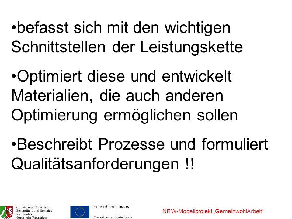 ________________________________ NRW-Modellprojekt GemeinwohlArbeit befasst sich mit den wichtigen Schnittstellen der Leistungskette Optimiert diese u