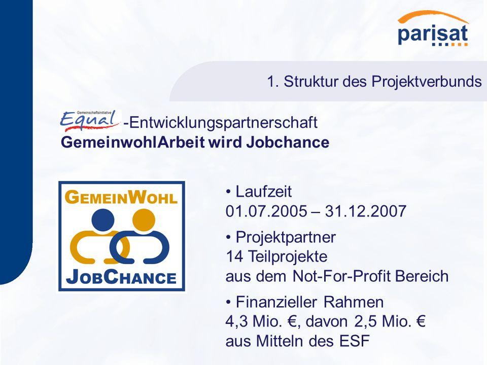 1. Struktur des Projektverbunds -Entwicklungspartnerschaft GemeinwohlArbeit wird Jobchance Laufzeit 01.07.2005 – 31.12.2007 Projektpartner 14 Teilproj
