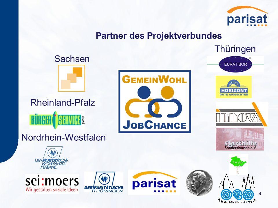 4 Partner des Projektverbundes Thüringen Sachsen Rheinland-Pfalz Nordrhein-Westfalen