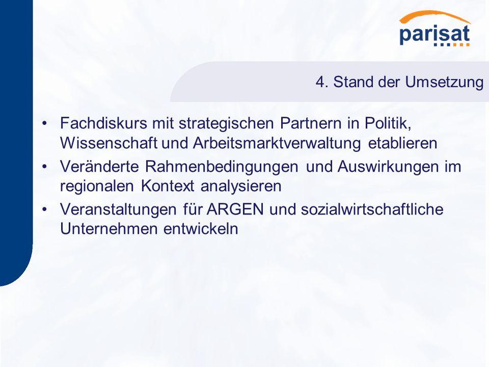 4. Stand der Umsetzung Fachdiskurs mit strategischen Partnern in Politik, Wissenschaft und Arbeitsmarktverwaltung etablieren Veränderte Rahmenbedingun
