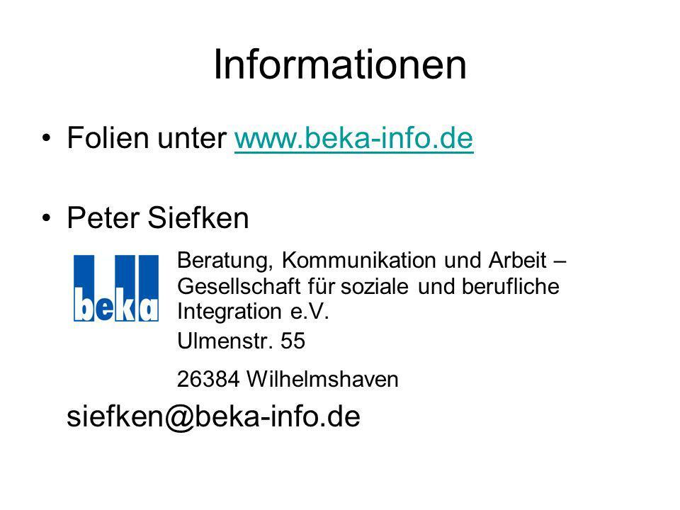 Informationen Folien unter www.beka-info.dewww.beka-info.de Peter Siefken Beratung, Kommunikation und Arbeit – Gesellschaft für soziale und berufliche