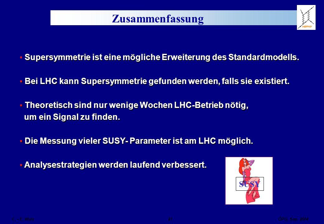 ÖPG, Sep. 2004 C. - E. Wulz21 Zusammenfassung Supersymmetrie ist eine mögliche Erweiterung des Standardmodells. Bei LHC kann Supersymmetrie gefunden w
