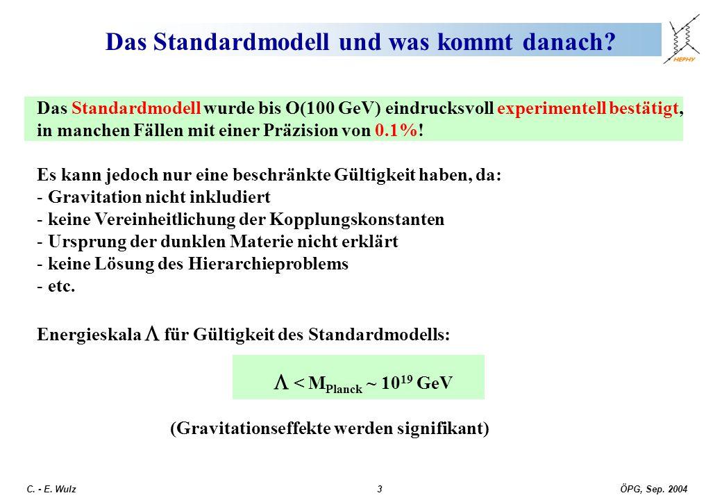 ÖPG, Sep. 2004 C. - E. Wulz3 Das Standardmodell und was kommt danach? Das Standardmodell wurde bis O(100 GeV) eindrucksvoll experimentell bestätigt, i