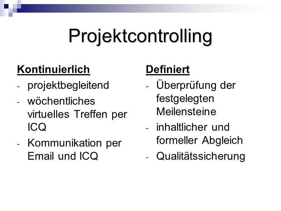 Projektcontrolling Kontinuierlich - projektbegleitend - wöchentliches virtuelles Treffen per ICQ - Kommunikation per Email und ICQ Definiert - Überprü