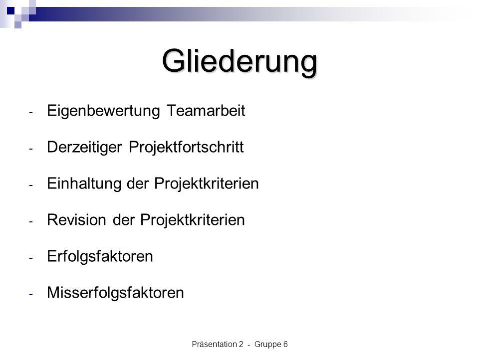 Präsentation 2 - Gruppe 6 Gliederung - Eigenbewertung Teamarbeit - Derzeitiger Projektfortschritt - Einhaltung der Projektkriterien - Revision der Projektkriterien - Erfolgsfaktoren - Misserfolgsfaktoren