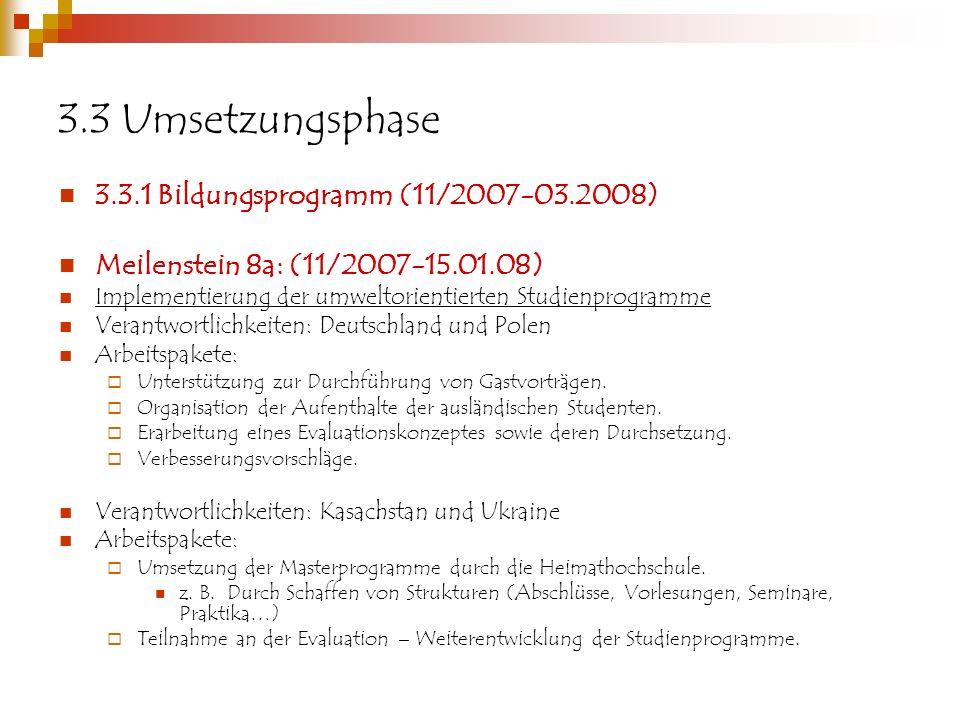 3.3 Umsetzungsphase 3.3.1 Bildungsprogramm (11/2007-03.2008) Meilenstein 8a: (11/2007-15.01.08) Implementierung der umweltorientierten Studienprogramme Verantwortlichkeiten: Deutschland und Polen Arbeitspakete: Unterstützung zur Durchführung von Gastvorträgen.