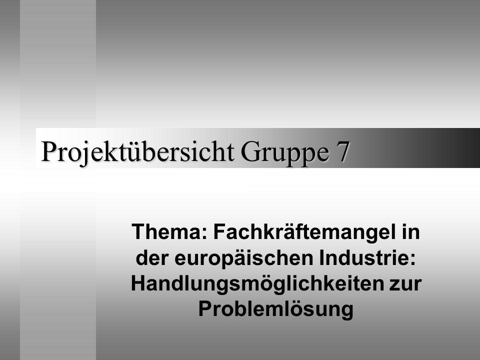 Projektübersicht Gruppe 7 Thema: Fachkräftemangel in der europäischen Industrie: Handlungsmöglichkeiten zur Problemlösung