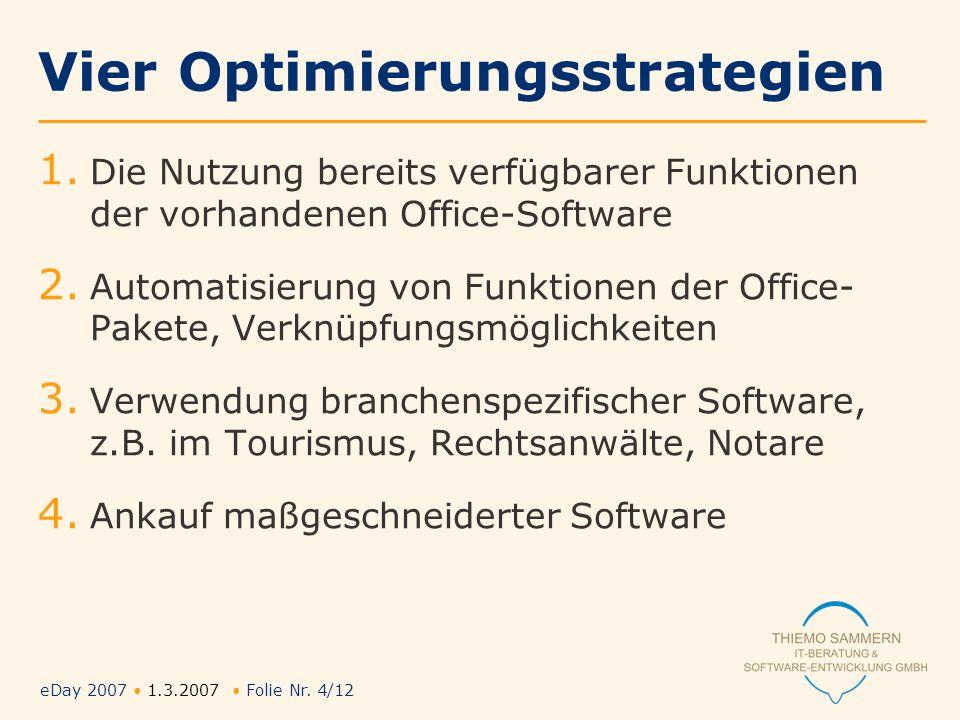 eDay 2007 1.3.2007 Folie Nr. 4/12 Vier Optimierungsstrategien 1. Die Nutzung bereits verfügbarer Funktionen der vorhandenen Office-Software 2. Automat