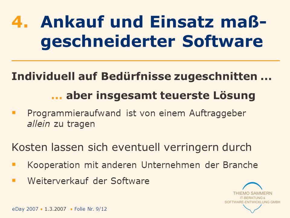 eDay 2007 1.3.2007 Folie Nr. 9/12 4.Ankauf und Einsatz maß- geschneiderter Software Individuell auf Bedürfnisse zugeschnitten...... aber insgesamt teu