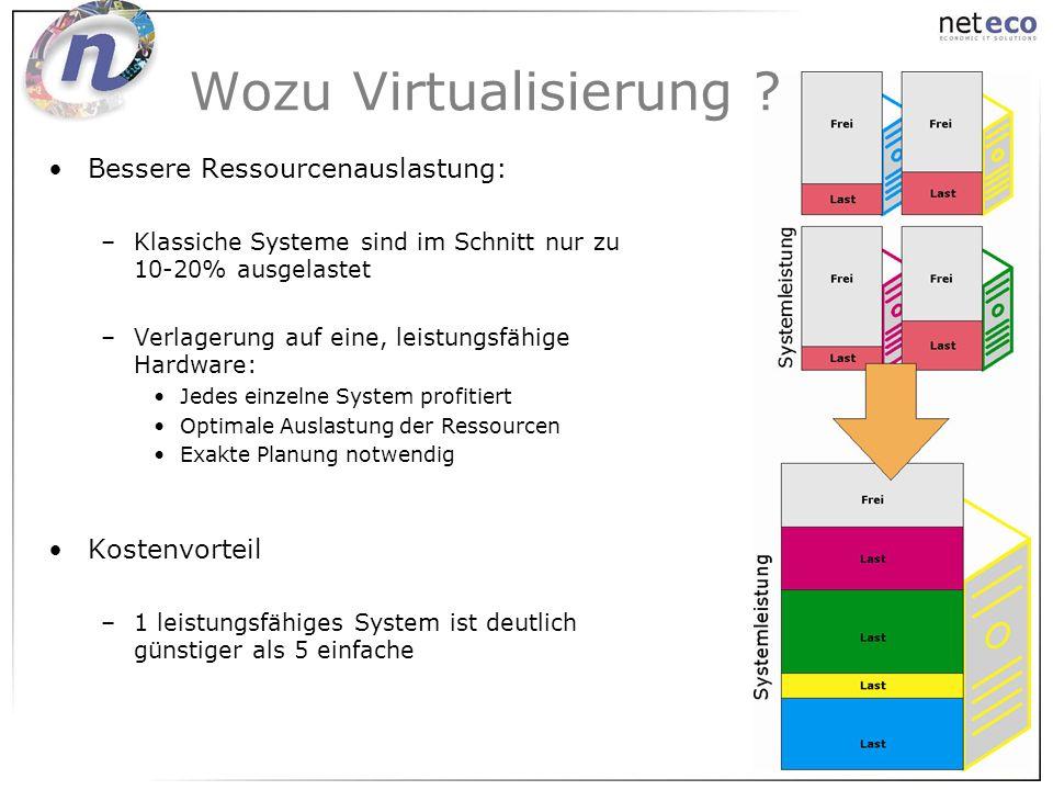 Bessere Ressourcenauslastung: –Klassiche Systeme sind im Schnitt nur zu 10-20% ausgelastet –Verlagerung auf eine, leistungsfähige Hardware: Jedes einz