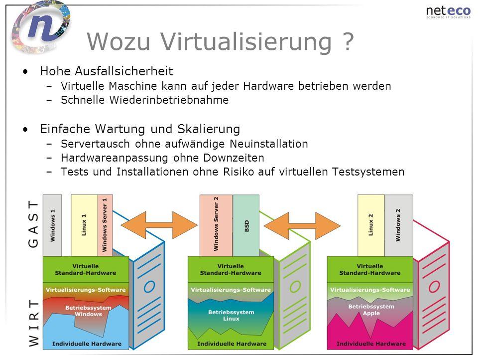Hohe Ausfallsicherheit –Virtuelle Maschine kann auf jeder Hardware betrieben werden –Schnelle Wiederinbetriebnahme Einfache Wartung und Skalierung –Se