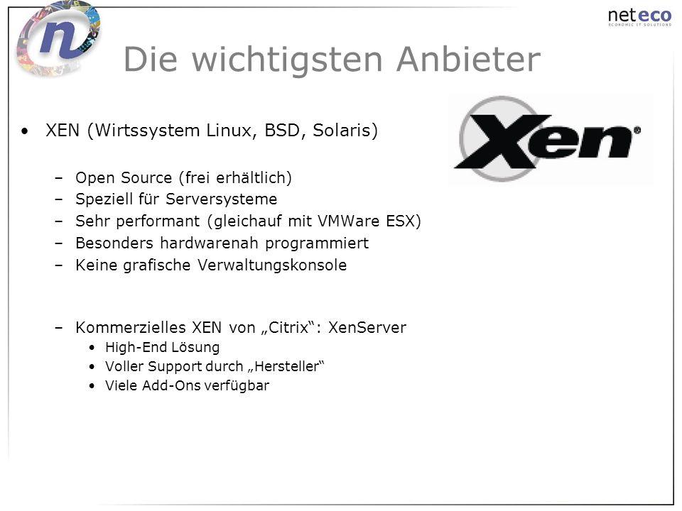 XEN (Wirtssystem Linux, BSD, Solaris) –Open Source (frei erhältlich) –Speziell für Serversysteme –Sehr performant (gleichauf mit VMWare ESX) –Besonder