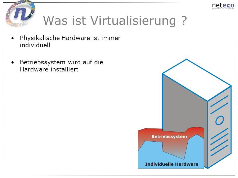 Was ist Virtualisierung ? Physikalische Hardware ist immer individuell Betriebssystem wird auf die Hardware installiert